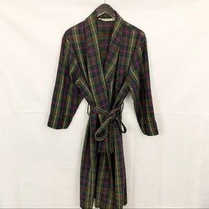Calvin Klein Green Vintage Plaid Tie Waist Robe